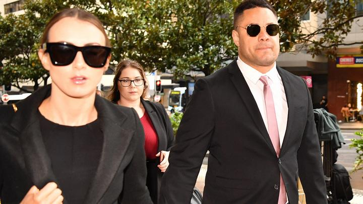 Jarryd Hayne, pictured here arriving at court with his wife.