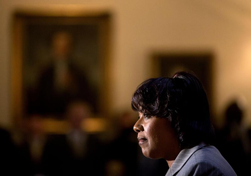 FILE - In this Thursday, Jan. 17, 2013 file photo, Bernice King, the daughter of Rev. Martin Luther King Jr., speaks during a service celebrating his birthday inside the Georgia State Capitol, in Atlanta. The legacy of the civil rights movement has long been invoked when people talk about the nation's first black president, and this year the memory of the Rev. Martin Luther King Jr. and the life of President Barack Obama will overlap significantly for a day. For only the second time, the presidential inauguration falls on the Rev. Martin Luther King Jr. holiday. (AP Photo/David Goldman, File)