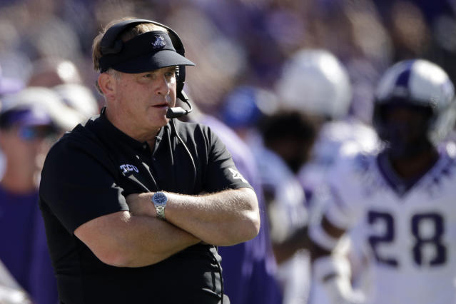 FILE - In this Oct. 19, 2019, file photo, TCU coach Gary Patterson watches during the first half of the team's NCAA college football game against Kansas State in Manhattan, Kan. Patterson, president of the American Football Coaches Association, says his level of optimism is very high that there will be a 2020 college football season. He's just not sure when it will start or how it will look. At some point in time, whether its fall or spring ... or if its shortened, were talking about five, six, seven, eight different options right now, Patterson said during a Zoom call with media on Tuesday, April 28, 2020. (AP Photo/Charlie Riedel, File)