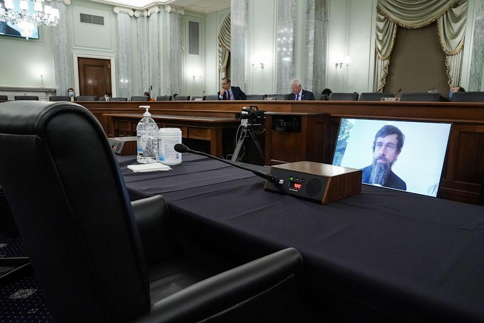 Twitter CEO Jack Dorsey testifies remotely during a Senate Commerce, Science, and Transportation Committee hearing with Big Tech companies on Wednesday. The committee is discussing reforming Section 230 of the Communications Decency Act.