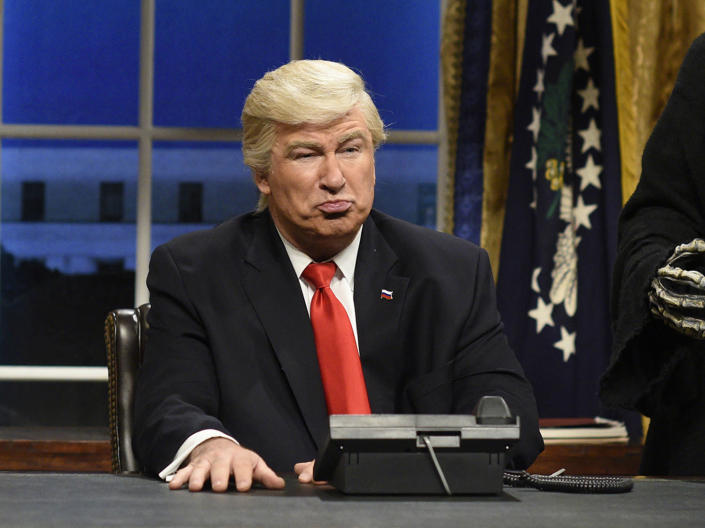 """<p>Alec Baldwin as President Donald Trump in the opening sketch of """"Saturday Night Live,"""" in New York on Feb. 4, 2017. (Photo: Will Heath/NBC via AP) </p>"""