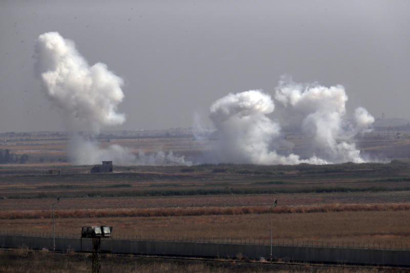 In this photo taken from the Turkish side of the border between Turkey and Syria, in Akcakale, Sanliurfa province, southeastern Turkey, smoke billows from targets inside Syria during bombardment by Turkish forces, Oct. 10, 2019. (Photo: Lefteris Pitarakis/AP)