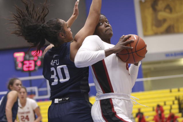 Stanford's Nadia Fingall looks for the basket as California Baptist's Tiena Afu defends during second-quarter NCAA college basketball game action at the Victoria Invitational in Victoria, British Columbia, Thursday, Nov. 28, 2019. (Chad Hipolito/The Canadian Press via AP)