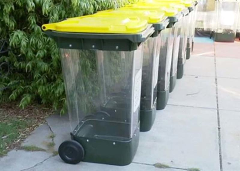 The transparent wheelie bins that could be rolled out across Adelaide. Source: 7News