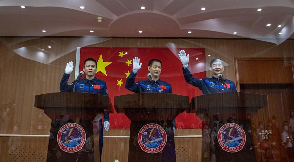Astronauts (from left) Tang Hongbo, Nie Haisheng and Liu Boming are to spend three months on the Tianhe module of China's new space station. Photo: EPA-EFE