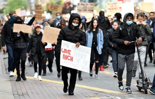 Demonstrators also marched in the northern English city of Manchester