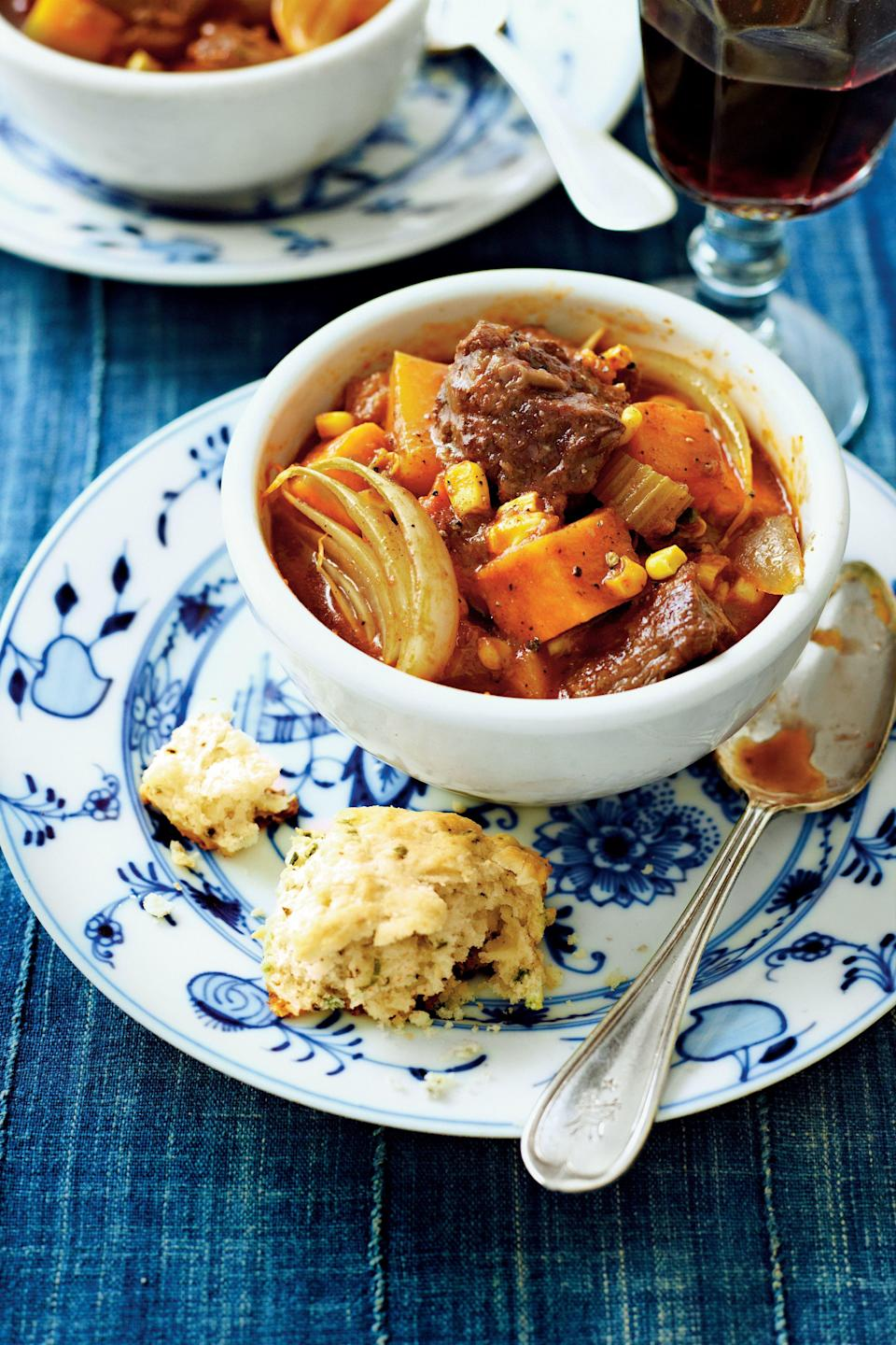"""<p><strong>Recipe:</strong> <a href=""""http://www.myrecipes.com/recipe/spiced-beef-stew-50400000124735/"""" rel=""""nofollow noopener"""" target=""""_blank"""" data-ylk=""""slk:Spiced Beef Stew with Sweet Potatoes"""" class=""""link rapid-noclick-resp""""><strong>Spiced Beef Stew with Sweet Potatoes</strong></a></p> <p>A chuck roast paired with sweet potatoes and butternut squash will hit the spot on the chilliest winter nights.</p>"""
