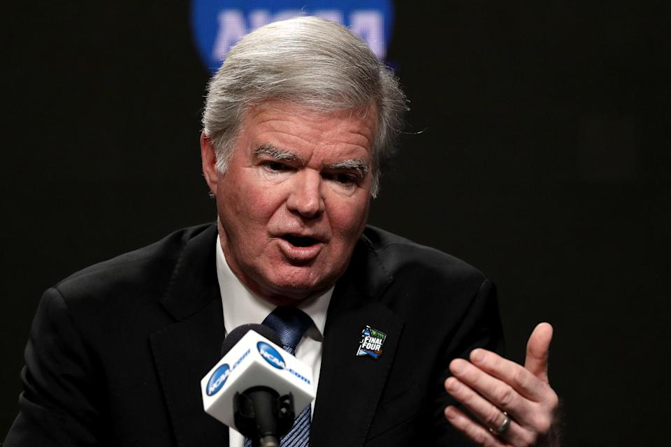 MINNEAPOLIS, MINNESOTA - APRIL 04: President of the National Collegiate Athletic Association Mark Emmert speaks to the media ahead of the Men's Final Four at U.S. Bank Stadium on April 04, 2019 in Minneapolis, Minnesota. (Photo by Maxx Wolfson/Getty Images)