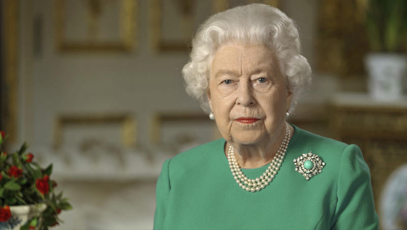 "In this image taken from video and made available by Buckingham Palace, Britain's Queen Elizabeth II addresses the nation and the Commonwealth from Windsor Castle, Windsor, England, Sunday April 5, 2020. Queen Elizabeth II made a rare address, calling on Britons to rise to the challenge of the coronavirus pandemic, to exercise self-discipline in ""an increasingly challenging time"". (Buckingham Palace via AP)"