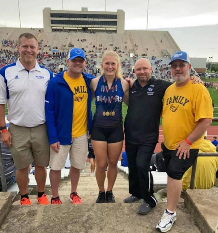Gardner Edgerton senior Kendra Wait completed arguably the most unique and most difficult four-gold performance in the history of the Kansas state track and field meet.