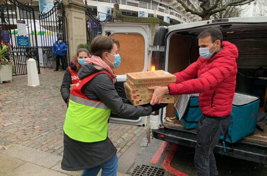 With donations from partners including Wagamama, Pizza Hut, Morrisons and Tortilla, Deliveroo will send free meals to several vaccine sites across UK. Photo: Deliveroo