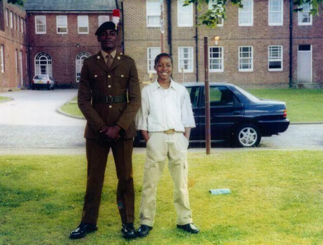 Chadwick and older brother Damion at his military graduation ceremony. Damion also arrived in the UK in 2002 and sadly died by suicide in 2018.