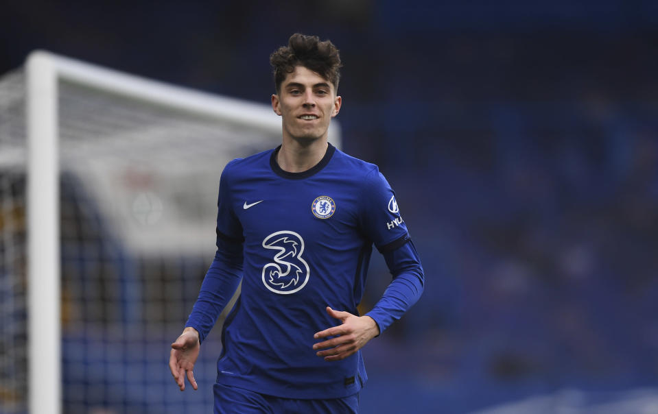 Chelsea's Kai Havertz celebrates after scoring his side's second goal during the English Premier League soccer match between Chelsea and Fulham at Stamford Bridge Stadium in London, Saturday, May 1, 2021. (Neill Hall/Pool via AP)