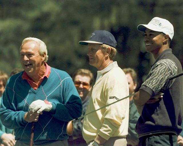 <p>Four-time Masters winner Arnold Palmer, left, six-time Masters winner Jack Nicklaus, center, and Tiger Woods watch from the 15th tee during practice for the Masters at the Augusta National Golf Club in Augusta, Ga., Wednesday, April 10, 1996. (AP Photo/Phil Sandlin) </p>