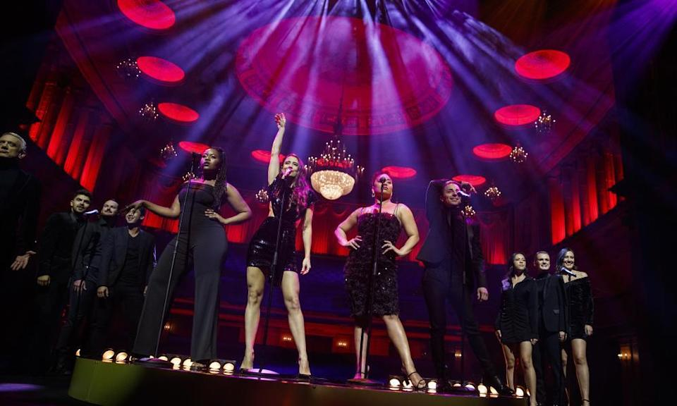 Actors perform during a media call for Moulin Rouge! The Musical at the Regent Theatre, Melbourne in May 2021