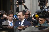 U.S. ambassador in Spain, James Costos, leaves the foreign ministry after being summoned to a meeting with Spain's European Secretary of State in Madrid October 28, 2013. REUTERS/Juan Medina