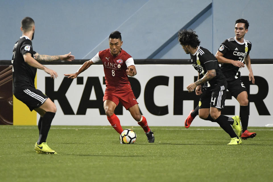 Song Ui-young (red jersey) in action for Home United in an AFC Cup match in 2018.