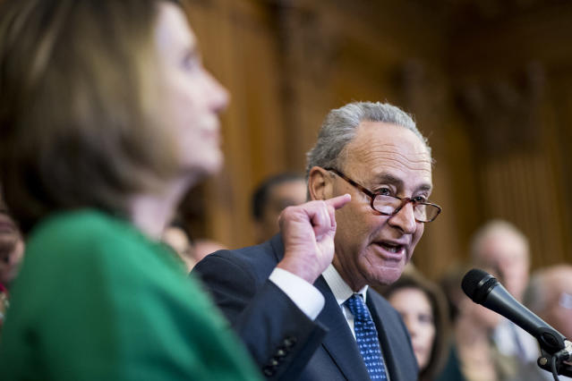 House Minority Leader Nancy Pelosi, D-Calif., left, and Senate Minority Leader Chuck Schumer, D-N.Y., urge Republicans to stand up to President Trump's decision to terminate the DACA initiative. (Photo: Bill Clark/CQ Roll Call/Getty Images)
