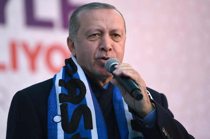 "Turkish President Recep Tayyip Erdogan (pictured March 18, 2019) angered Australia after he warned anti-Muslim Australians would be sent ""back in coffins"" like their grandfathers at Gallipolli, the scene of a bloody WWI battle (AFP Photo/Ozan KOSE)"
