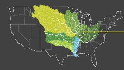 NORTH AMERICA'S AMAZON The area in blue is the Lower Mississippi River Basin where Restore the Earth Foundation is working to restore 1M acres of trees.