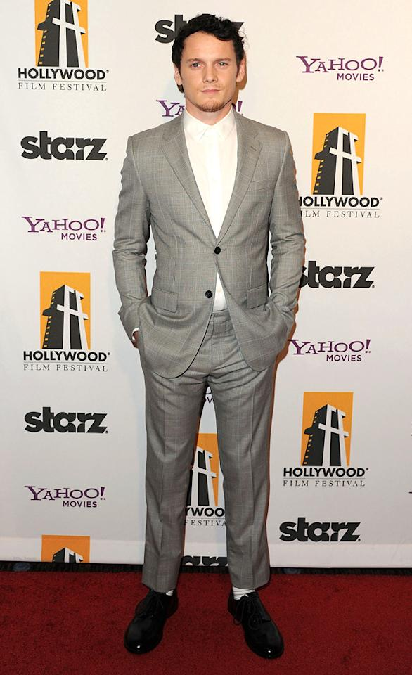 """<a href=""""http://movies.yahoo.com/movie/contributor/1804848614"""">Anton Yelchin</a> at the 15th Annual Hollywood Film Awards in Beverly Hills, California on October 24, 2011."""