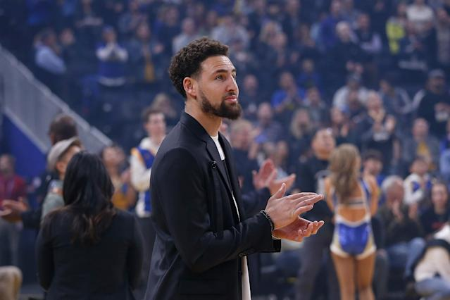 Warriors star Klay Thompson will be re-evaluated during the All-Star break next month after tearing his ACL during the Finals last summer. (Lachlan Cunningham/Getty Images)