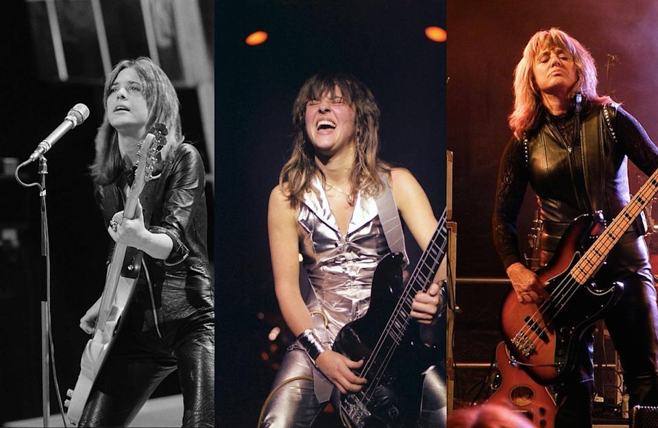 Suzi Quatro recently revealed she still wears her leather catsuit, pictured in 1973, 1978 and 2011 respectively.(Photos Getty)