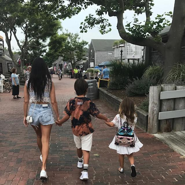 "<p>She gave fans a peek at just how big Mason and Penelope are getting in a snapshot from a family vacation last summer. (Photo: <a href=""https://www.instagram.com/p/BWxd617DH1b/?taken-by=kourtneykardash"" rel=""nofollow noopener"" target=""_blank"" data-ylk=""slk:Kourtney Kardashian via Instagram"" class=""link rapid-noclick-resp"">Kourtney Kardashian via Instagram</a>)<br><br></p>"