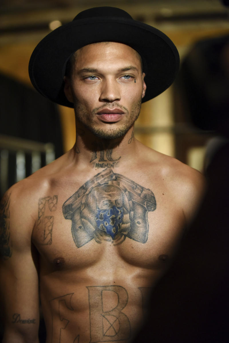"Jeremy Meeks, the model who was referred to as ""the hot felon,"" poses backstage before the Philipp Plein fashion show, Monday, Feb. 13, 2017, in New York. (AP Photo/Diane Bondareff)"