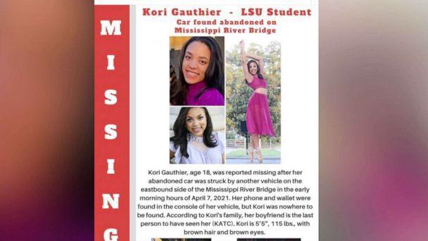 PHOTO: A missing person flyer circulated on Twitter shows missing LSU student Kori Gauthier. (KATC via LSU Twitter)