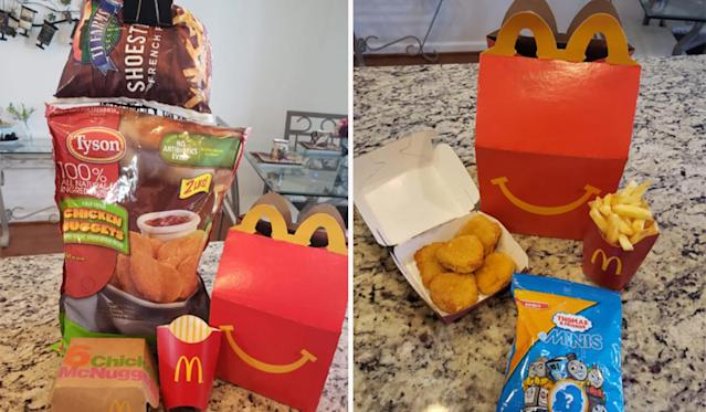 The mum shared what she used to make the trick believable for her son. Photo: Facebook