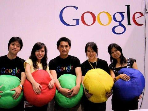 Google employees, Googlers, holding balls