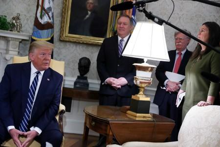 U.S. President Trump speaks during Oval Office meeting at the White House in Washington