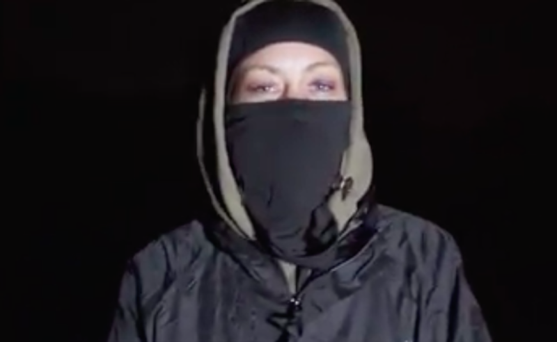 A female activist talks about the blockade in the video (Picture: Smash Speciesism)