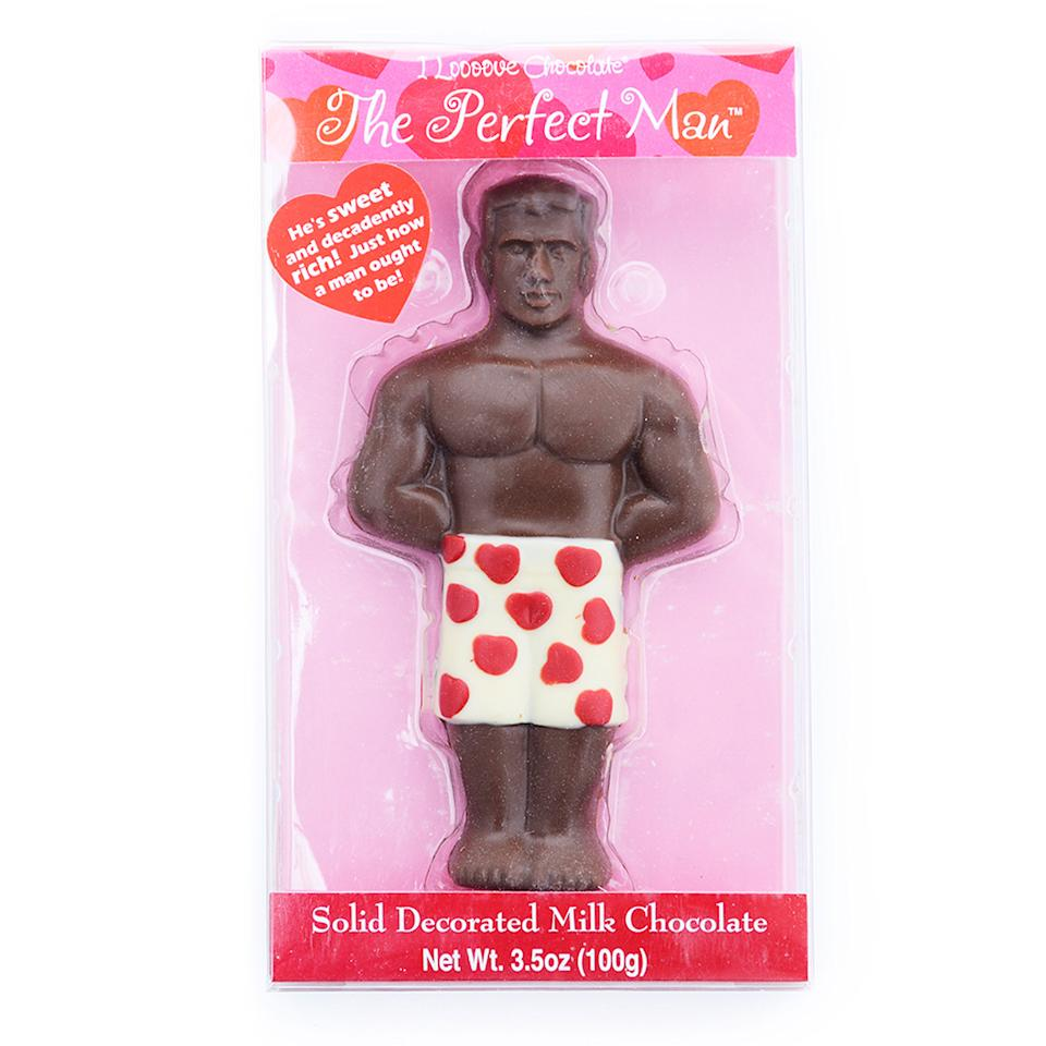 "<p>Who says <a rel=""nofollow"" href=""https://www.dylanscandybar.com/The-Perfect-Man-Hey-hes-solid-chocolate.html"">your hunk</a> can't be chocolate? </p>"