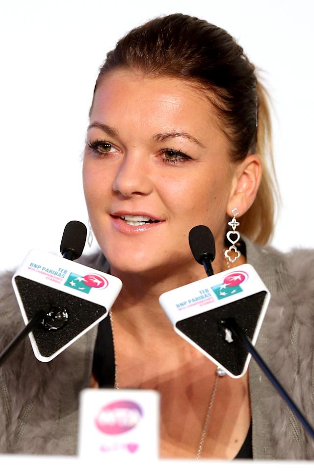 ISTANBUL, TURKEY - OCTOBER 21: Agnieszka Radwanska of Poland firelds questions from the media at the WTA All Access Hour before the start of the WTA Championships at the Renaissance Polat Hotel on October 21, 2013 in Istanbul, Turkey. (Photo by Matthew Stockman/Getty Images)