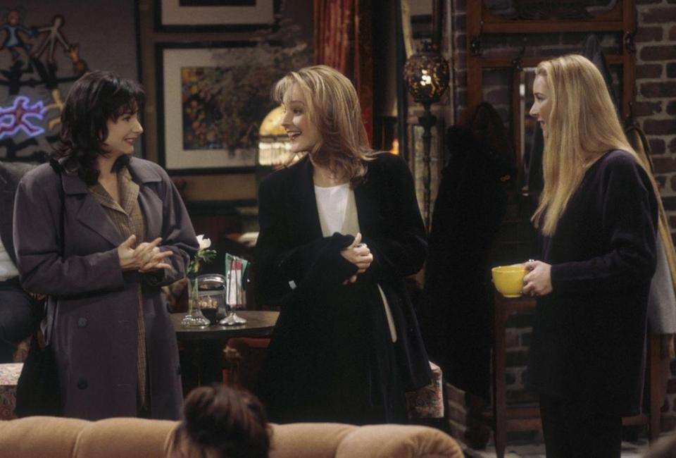 <p>The sitcom world collided when <em>Mad About You</em> star Helen Hunt appeared as Jamie Buchman in a scene at Central Perk. What most fans don't know, though, is that Lisa Kudrow used to have a reoccurring guest role on Helen's show as the ditzy waitress, Ursula (who was then written into several storylines on <em>Friends</em> as Phoebe Buffay's identical twin sister).</p>