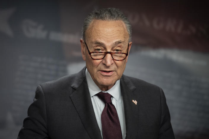 Senate Majority Leader Chuck Schumer speaks during a news conference in the Capitol in Washington on Tuesday, February 2, 2021. / Credit: Caroline Brehman/CQ-Roll Call, Inc via Getty Images