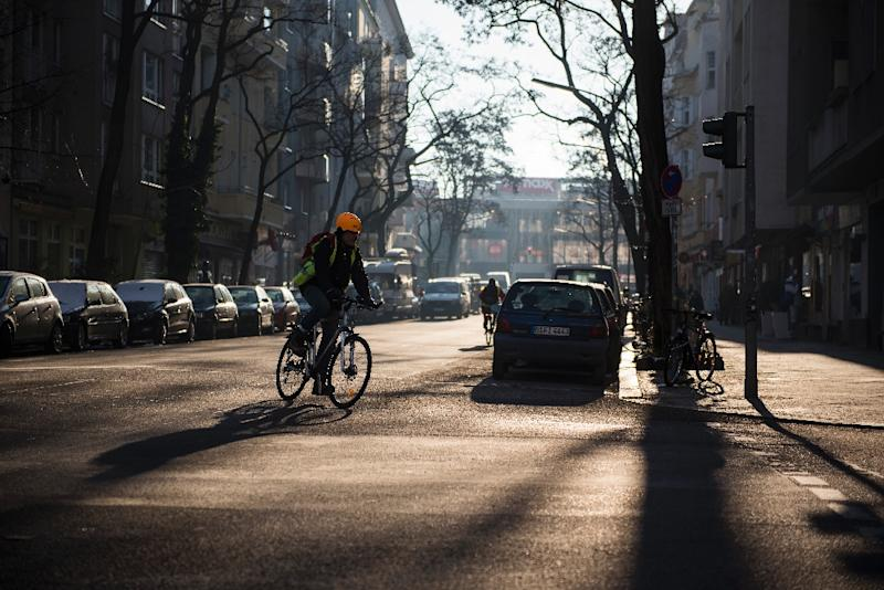 A cyclist rides as the winter sun cuts through the trees, casting a shadow in Berlin's Schoeneberg district on January 22, 2016