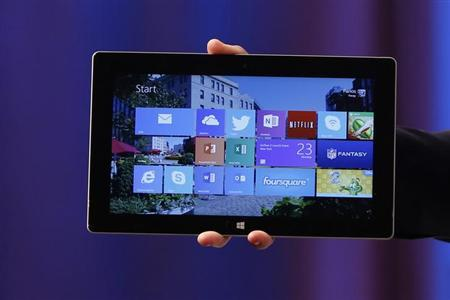 Microsoft's Surface 2 is seen during the launch of their Surface 2 tablets in New York September 23, 2013. REUTERS/Shannon Stapleton