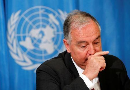 Moumtzis UN humanitarian coordinator on the Syria crisis attends a news conference in Geneva