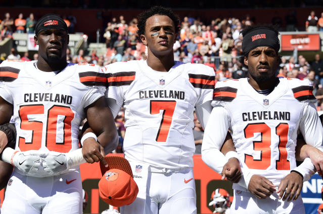 <p>B.J. Bello #50 of the Cleveland Browns DeShone Kizer #7 of the Cleveland Browns Reggie Porter #31 of the Cleveland Browns stand arm in arm durning the National Anthem before the game against the Cincinnati Bengals at FirstEnergy Stadium on October 1, 2017 in Cleveland, Ohio. (Photo by Jason Miller /Getty Images) </p>