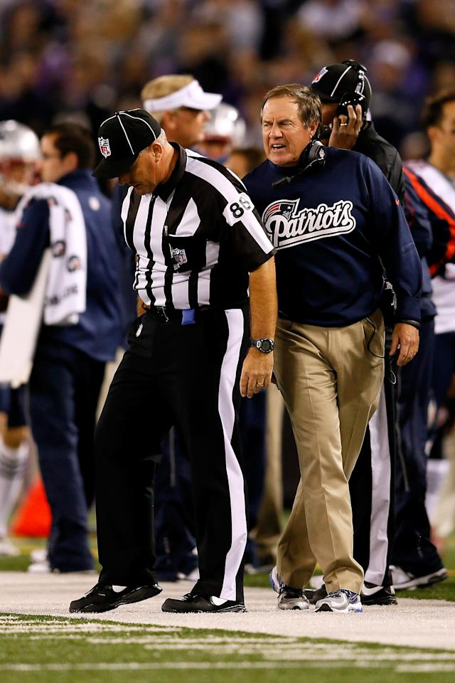 BALTIMORE, MD - SEPTEMBER 23: Head coach Bill Belichick of the New England Patriots yells at an official following an offensive interference penalty against the Patriots in the first quarter against the Baltimore Ravens at M&T Bank Stadium on September 23, 2012 in Baltimore, Maryland. (Photo by Rob Carr/Getty Images)