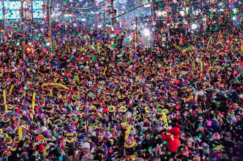Revelers celebrate New Year in Times Square in the Manhattan borough of New York City