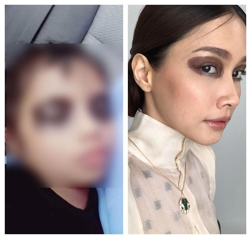 Who wore it best? Scha's post is a parody of a recent prank that saw parents applying black eyeshadow on their kids to 'scare' them out of their handphone addiction. — Picture from Instagram/schaalyahya and Twitter/iamjayarahman