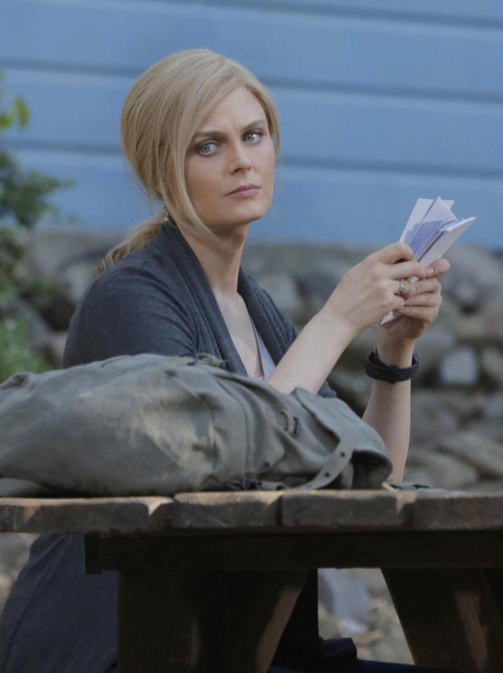 "Brennan (Emily Deschanel) remains on the run in ""The Future in the Past,"" the Season 8 premiere episode of ""Bones."""