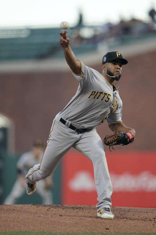 Pittsburgh Pirates starting pitcher Dario Agrazal throws to a San Francisco Giants batter during the first inning of a baseball game Wednesday, Sept. 11, 2019, in San Francisco. (AP Photo/Tony Avelar)
