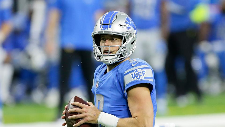 Detroit Lions quarterback Matthew Stafford looks downfield during the second half of an NFL football game against the Indianapolis Colts, Sunday, Nov. 1, 2020, in Detroit. (AP Photo/Duane Burleson)