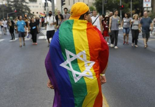 A participant at Jerusalem's annual Gay Pride parade which took place under heavy police guard in the holy and conservative city on August 2, 2018