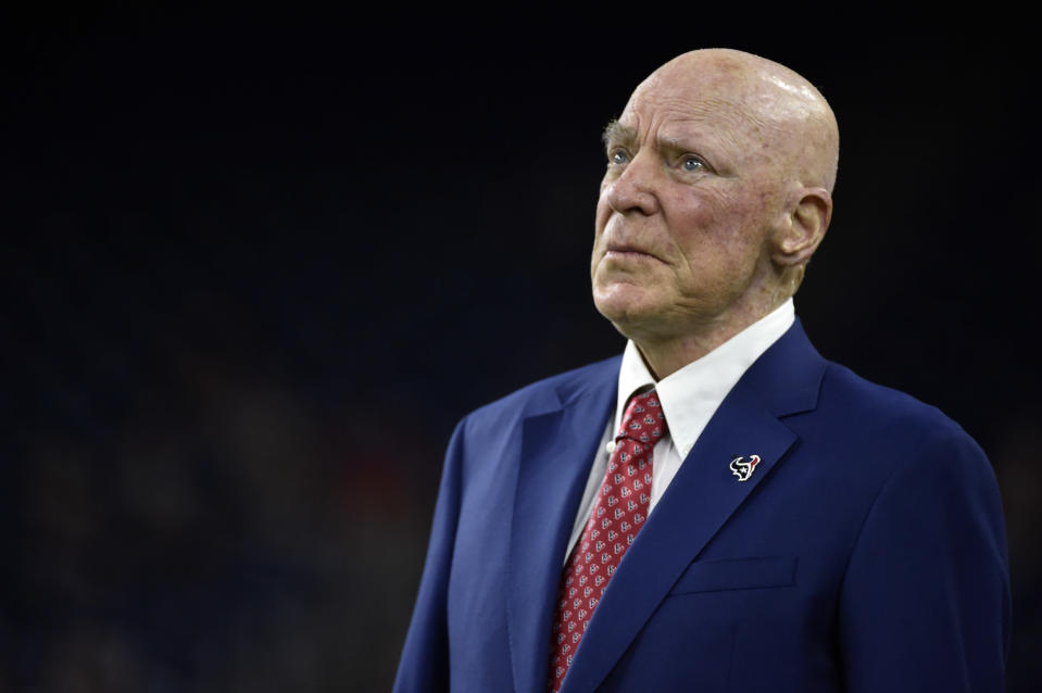 Houston Texans owner Bob McNair has drawn the ire of his players after insulting protesting players during a recent owner's meeting. (AP Photo)